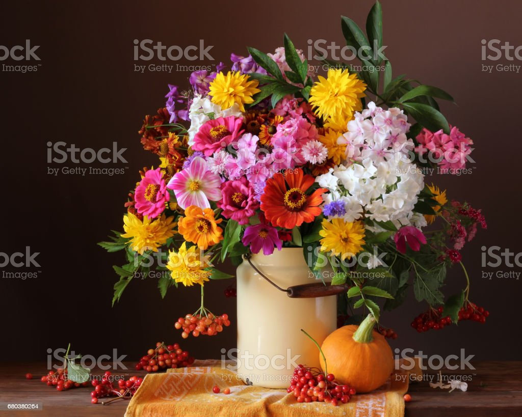 country flowers in can on the table, pumpkin and berries. royalty-free stock photo
