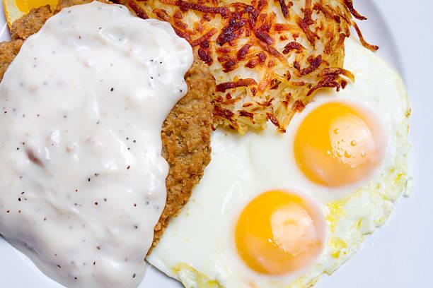 country-steak und eier - haschee stock-fotos und bilder
