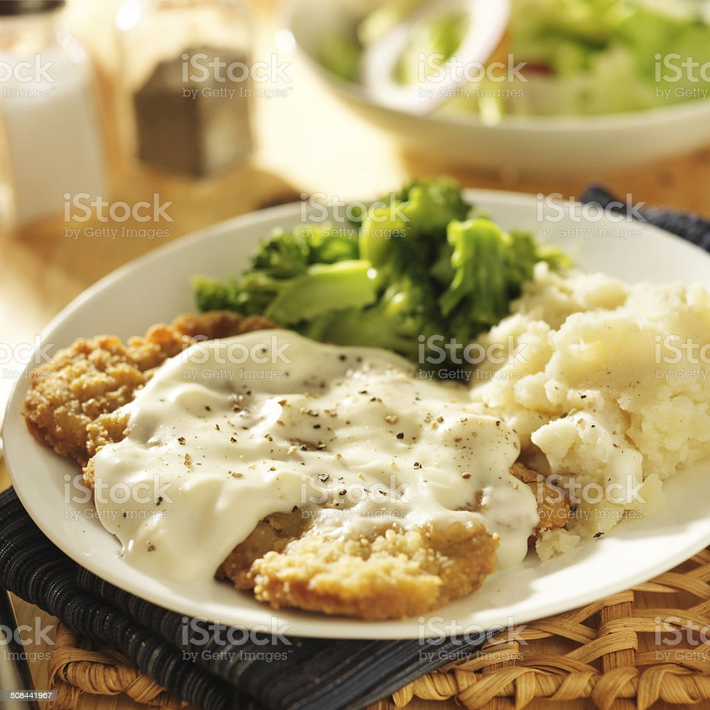 country fried steak close up stock photo