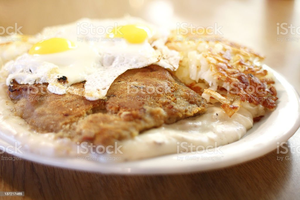 Country fried steak with gravy royalty-free stock photo