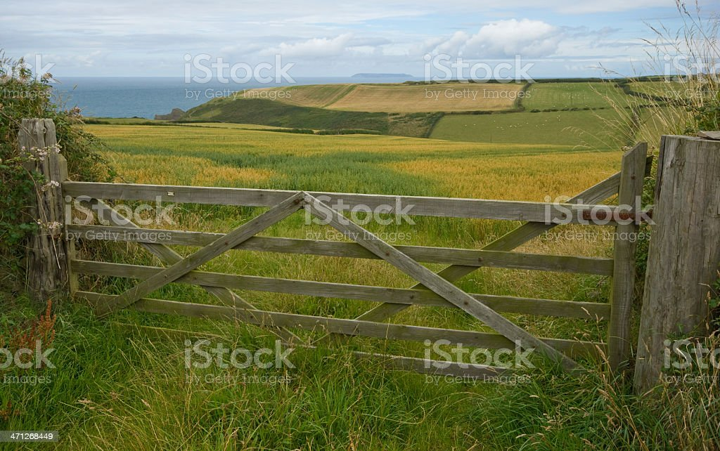 Country gate with Lundy Island stock photo