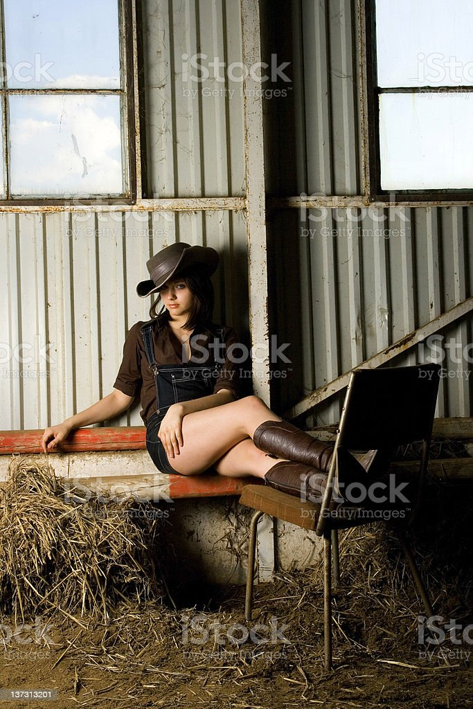 Country girl relaxing royalty-free stock photo