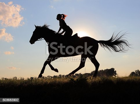 Silhouette of cowgirl riding horse through the pasture at sunset