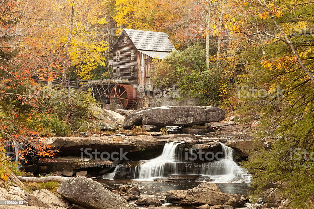 Country Grist Mill in the Fall stock photo