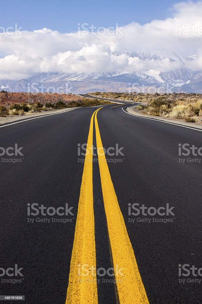 country highway, double yellow stock photo