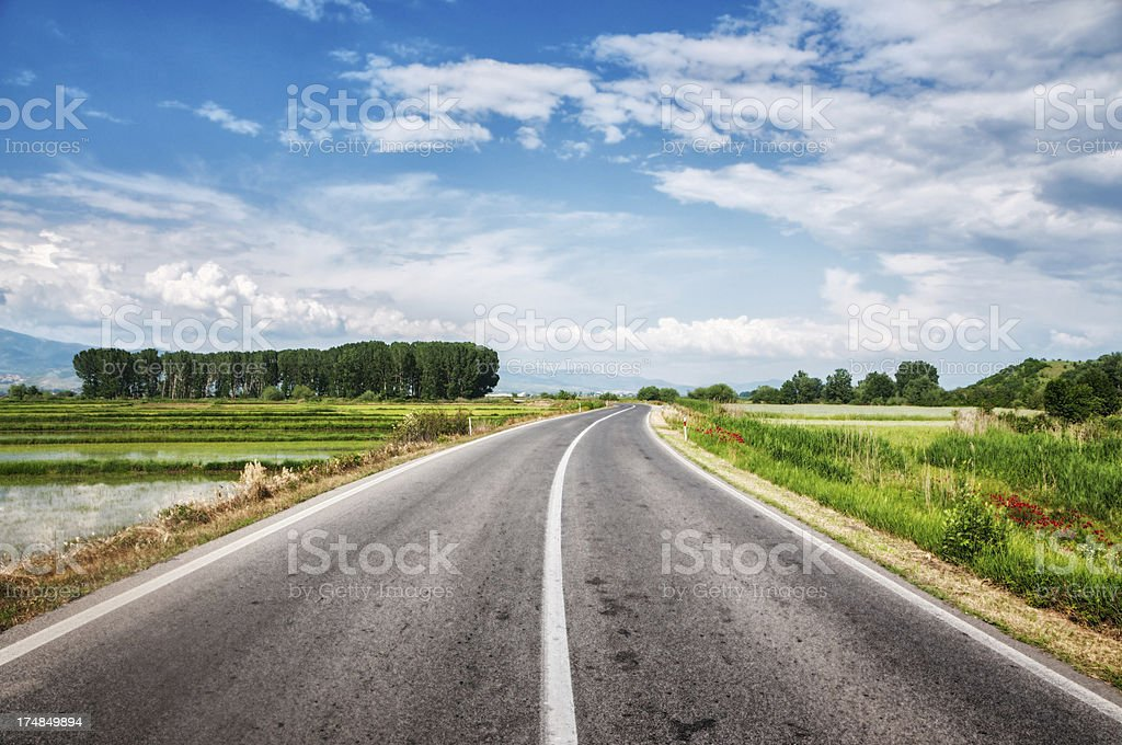 Country Highway Surrounded with Green Fields royalty-free stock photo