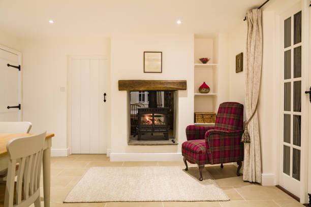 Country home interior with wood burner stock photo