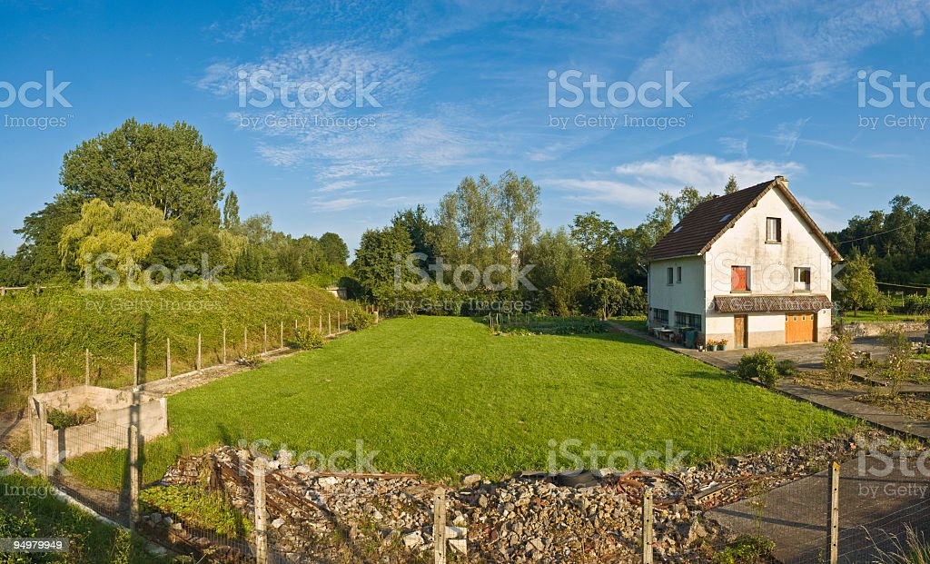 Country house and garden stock photo