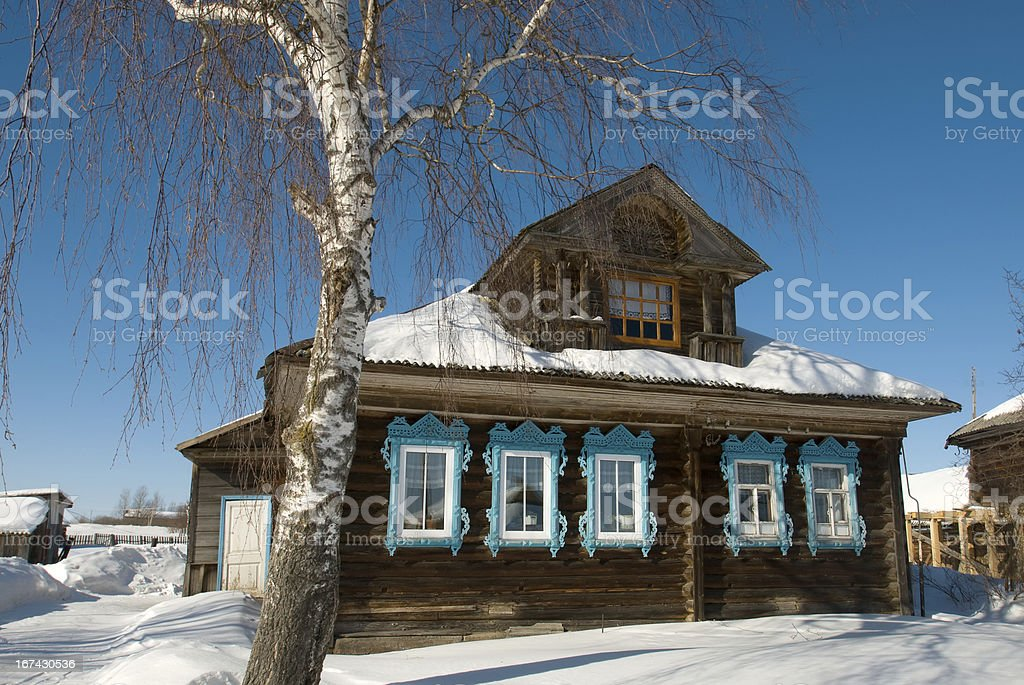 Country house in winter royalty-free stock photo