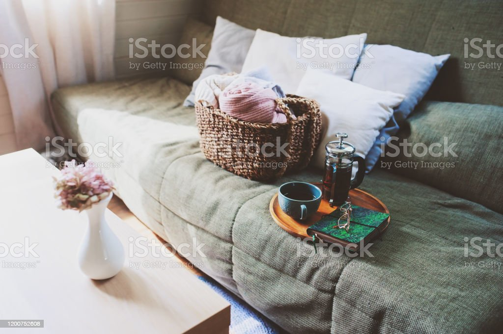 Country House Living Room Interior Details Cozy Couch Hot Tea And Decorative Pillows Stock Photo Download Image Now Istock