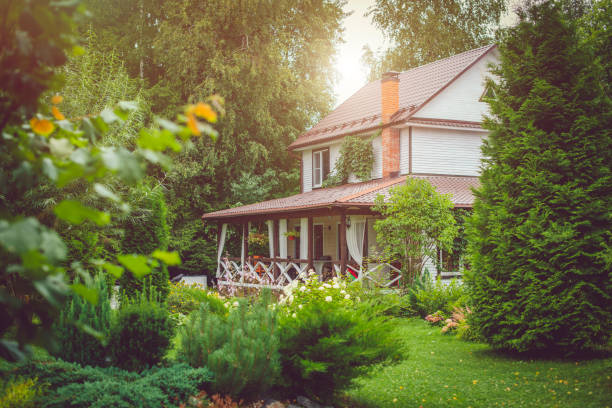 Country house with green back yard in sunny summer day Country cottage with green landscaped back yard in sunny summer day russian dacha stock pictures, royalty-free photos & images