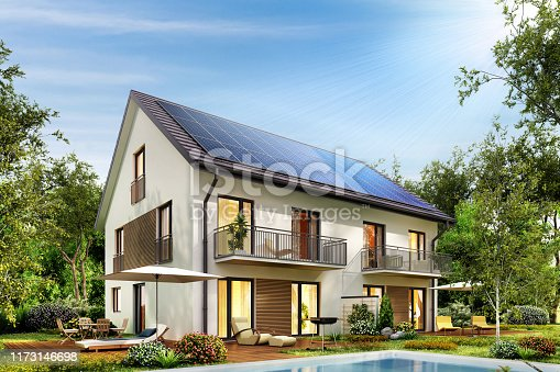 istock Country house with solar panels on the roof and a terrace and swimming pool 1173146698