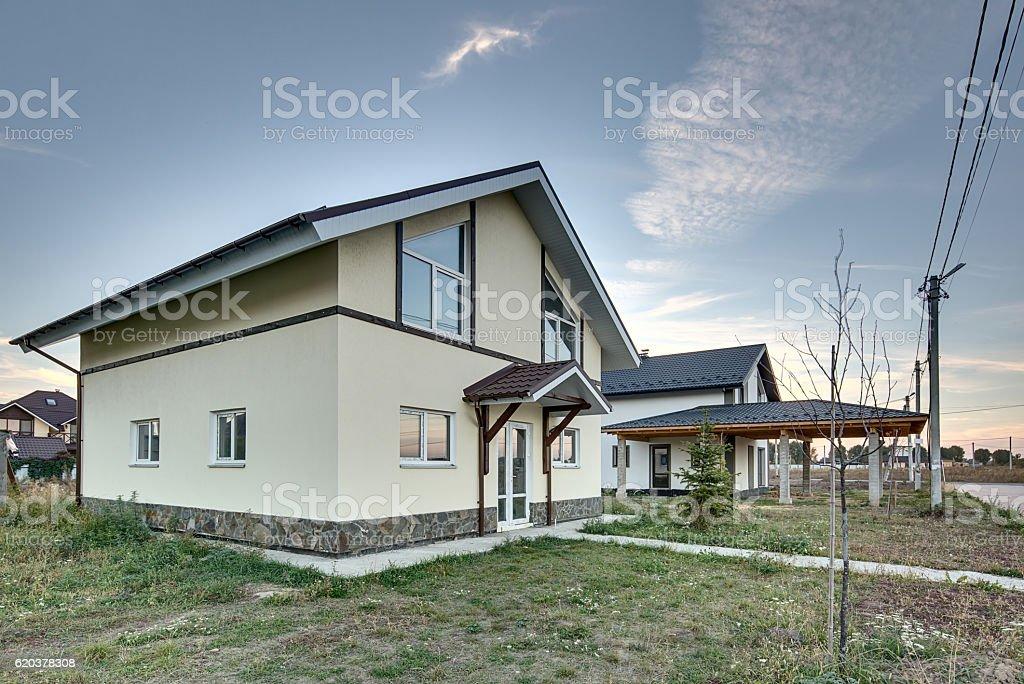 Country houses in modern style zbiór zdjęć royalty-free