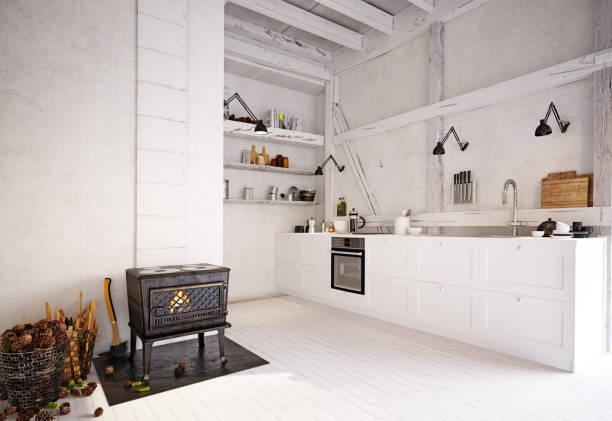 landküche interieur. - landhausstil küche stock-fotos und bilder
