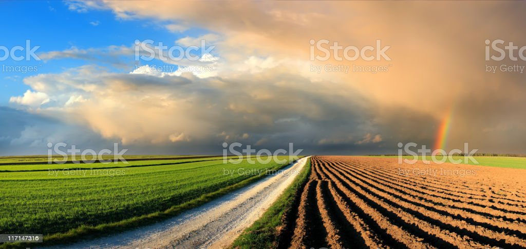 Country Landscape - fields and rainbow in the sunset sky - Royalty-free Agricultural Field Stock Photo