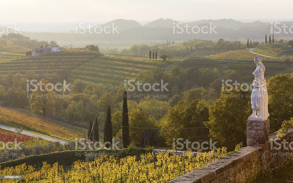 Country landscape view of Rosazzo Abbey with lone statue stock photo