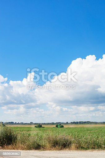 istock country landscape with agrarian field and blue sky 585608962