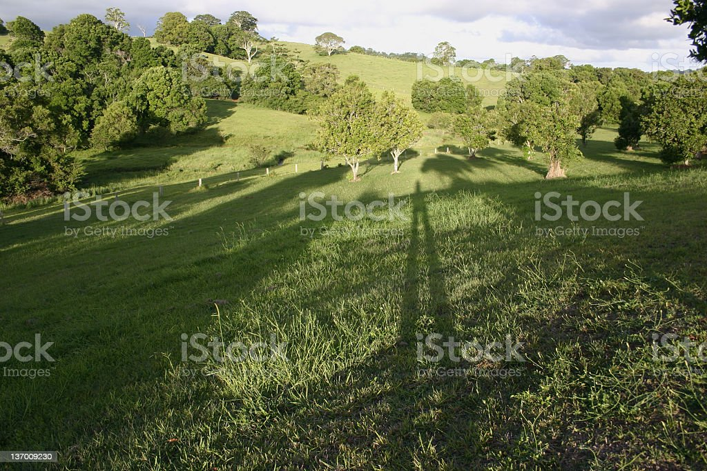 Country Landscape with Photographer's Shadow stock photo