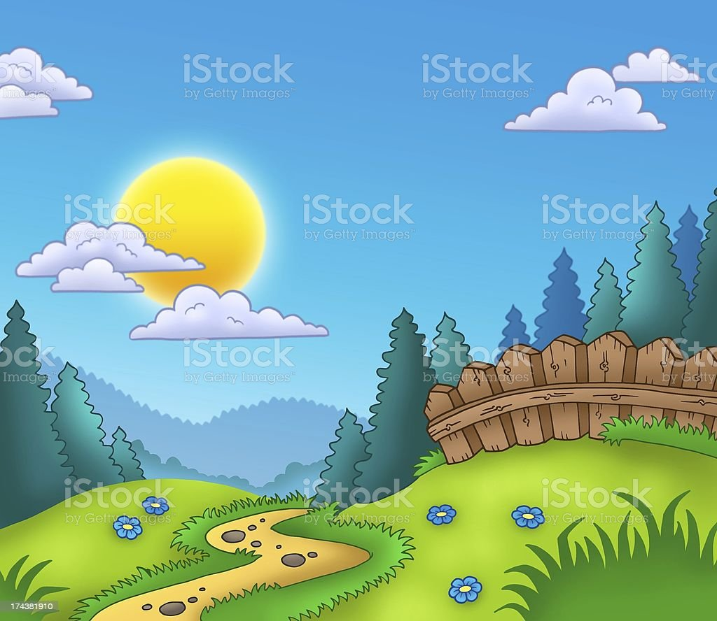 Country landscape with Sun royalty-free stock photo