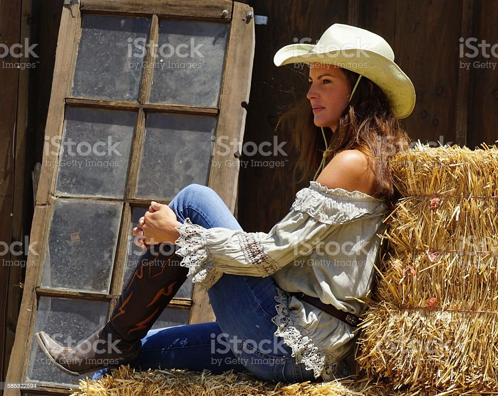Country Lifestyle - Cowgirl stock photo