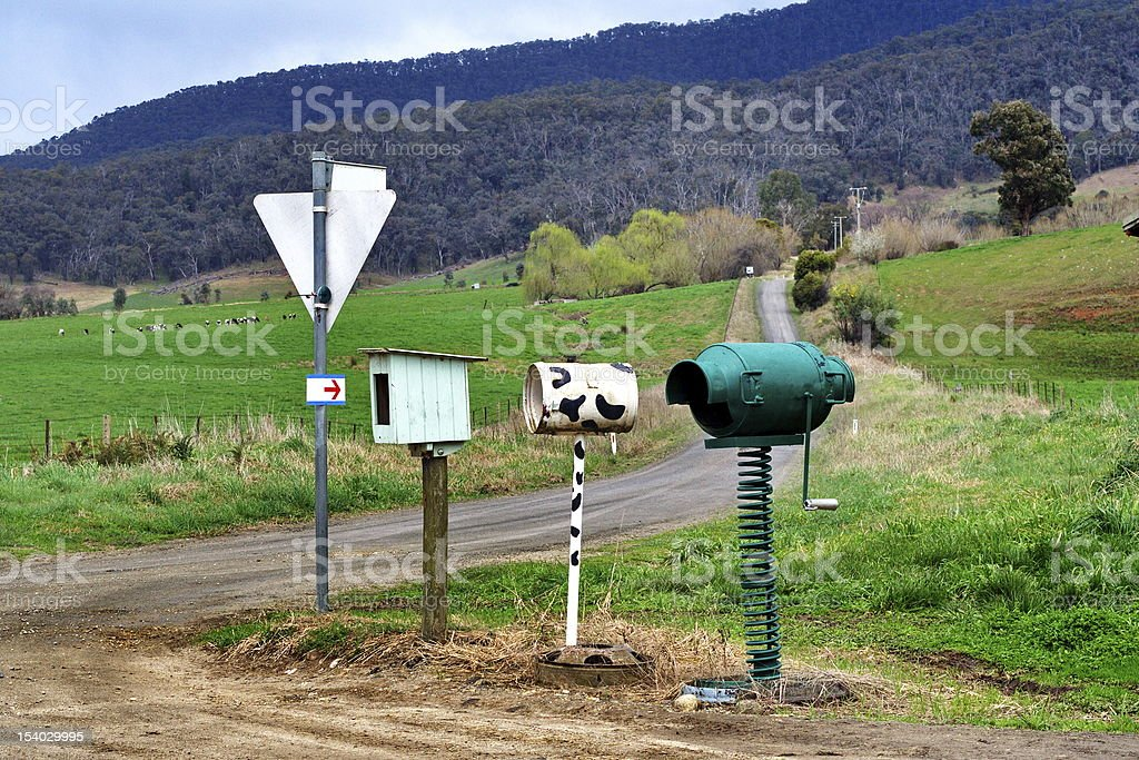 Country mailboxes stock photo