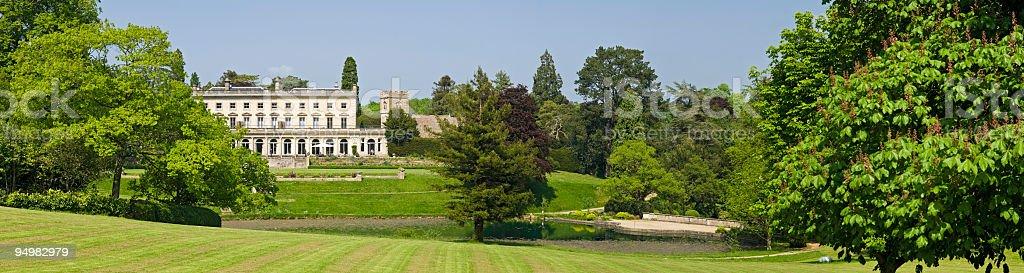 Country manor panorama stock photo