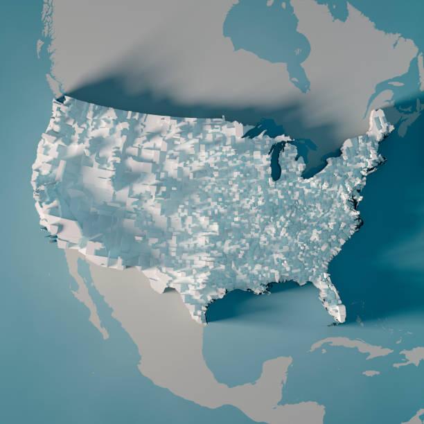 usa land karte landkreise bevölkerung diagramm 3d render - demographie deutschland stock-fotos und bilder