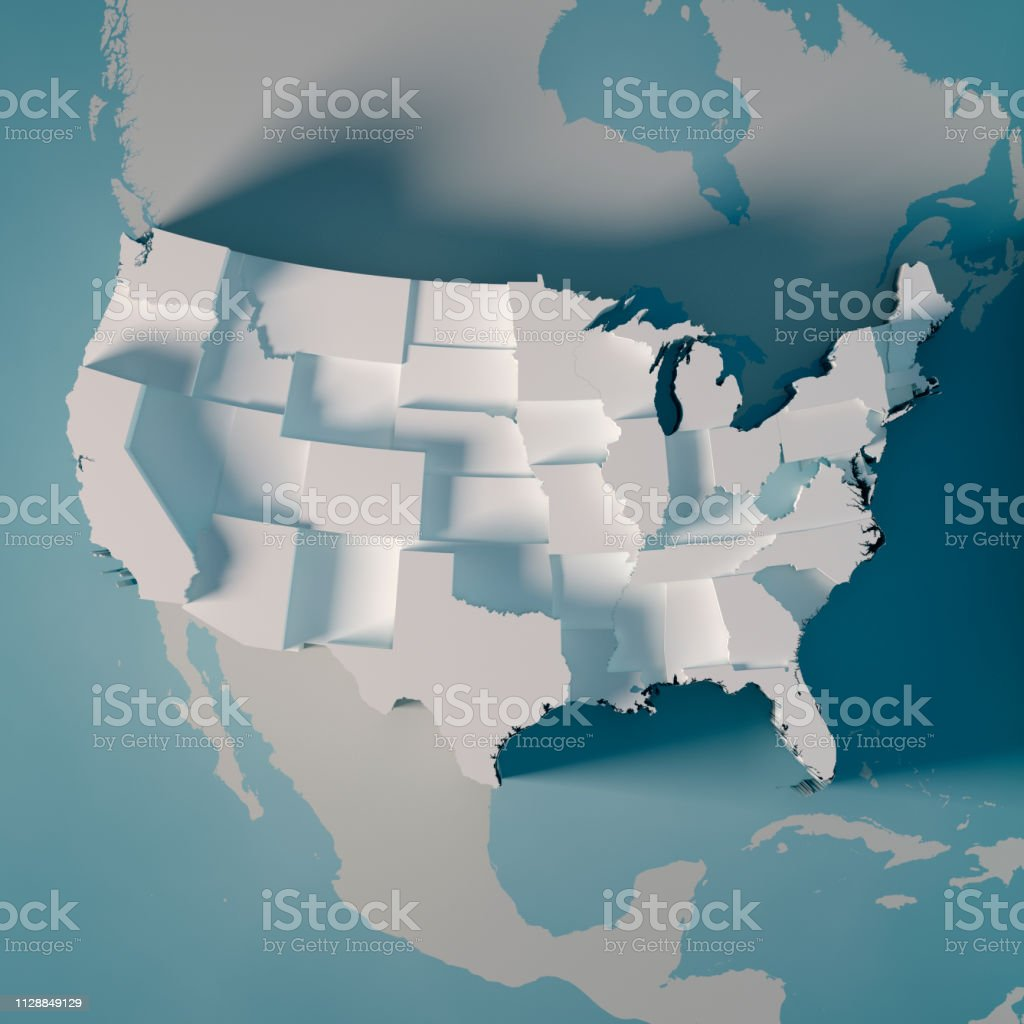 USA Country Map Counties Population Graph 3D Render royalty-free stock photo