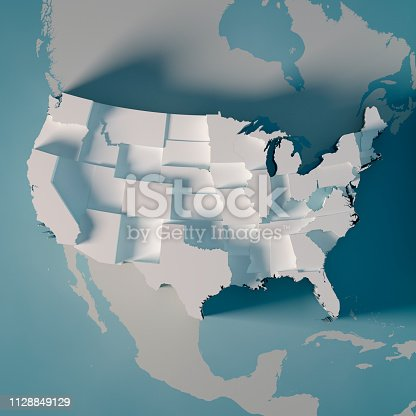 3D Render of a Country Map of the USA showing the States separately, Graph height dependent from the population numbers. Made with Natural Earth.  https://www.naturalearthdata.com/downloads/10m-cultural-vectors/ All source data is in the public domain.