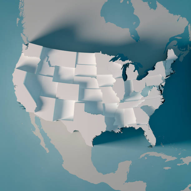 usa country map counties population graph 3d render - map стоковые фото и изображения