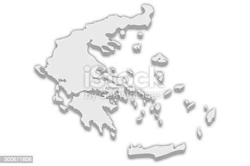 istock Country Map: Greece with captial city marker Athens 500671606