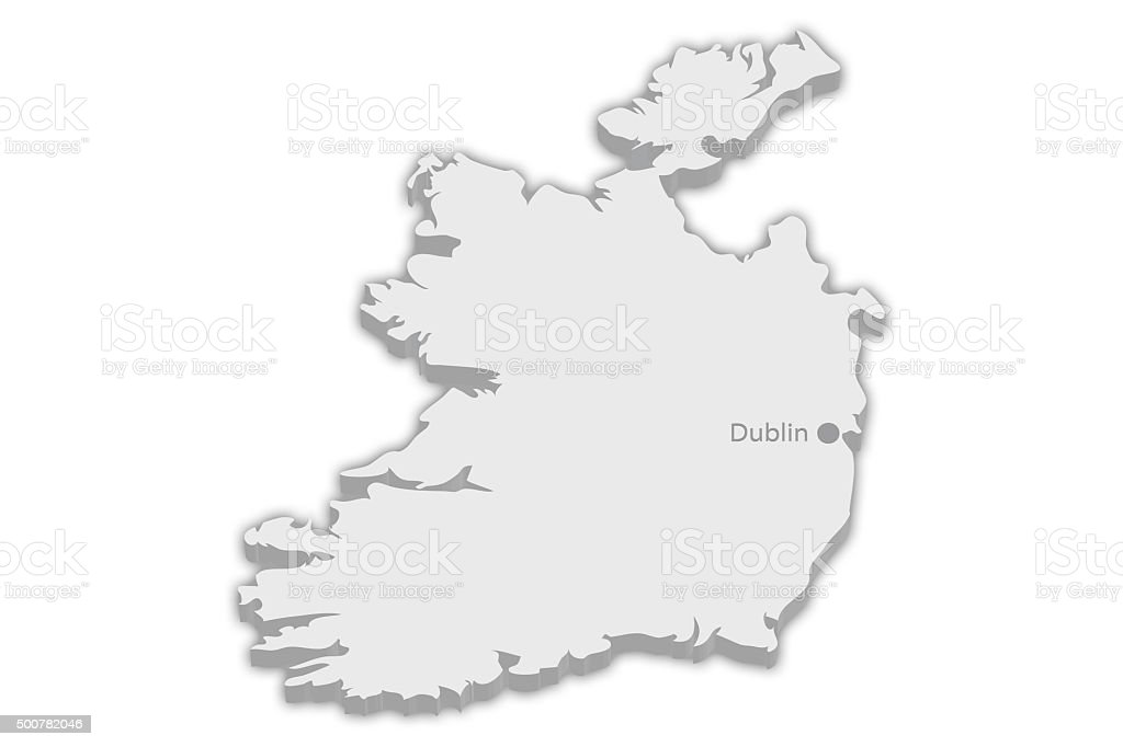 Country Map Of Ireland.Country Map Ireland With Captial City Marker Dublin Stock Photo