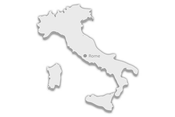 Country Map: Italy with captial city marker Rome stock photo