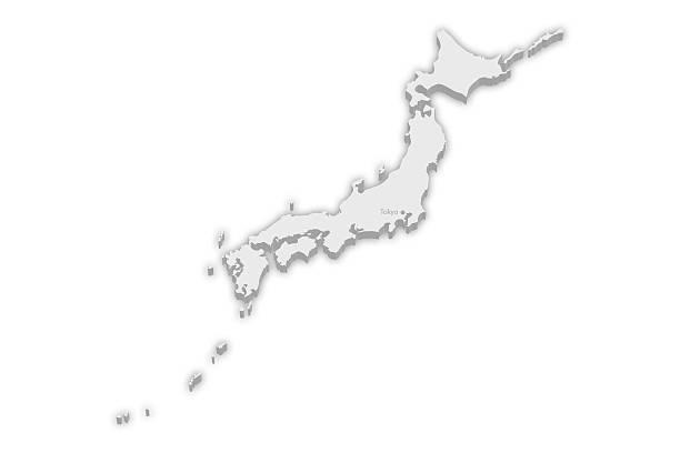 国別マップ:日本、東京 資本金 街のマーカー - 日本 地図 ストックフォトと画像