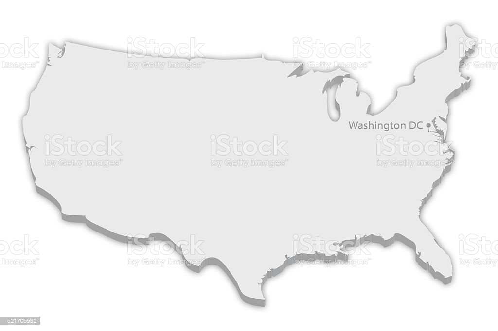 Country Map: USA with captial city marker Washington DC stock photo