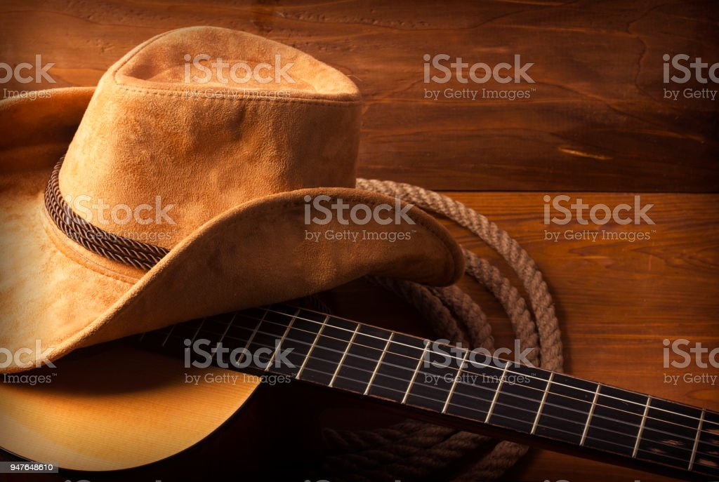 Country music background with guitar stock photo