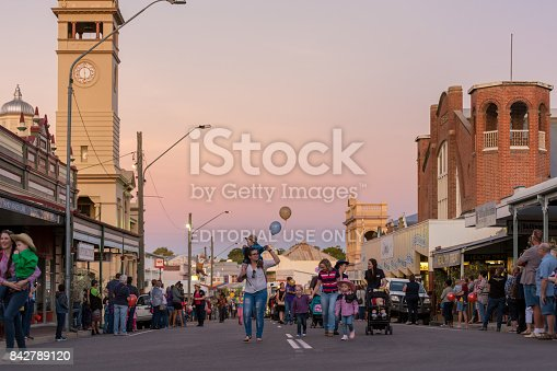 Charters Towers, Australia - April 28, 2017: Onlookers and participants in the annual street parade for the 40th Charters Towers Country Music Festival
