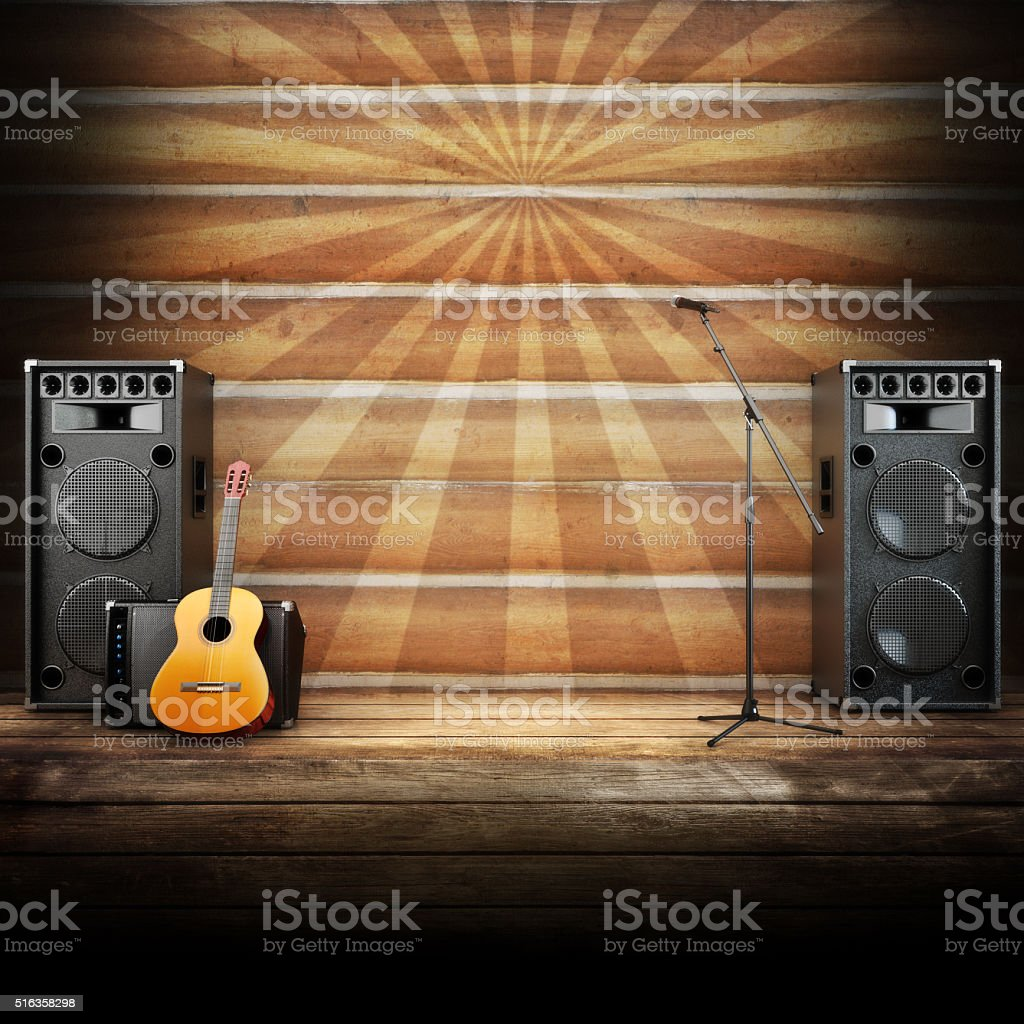 Country Music Stage Or Singing Background Stock Photo