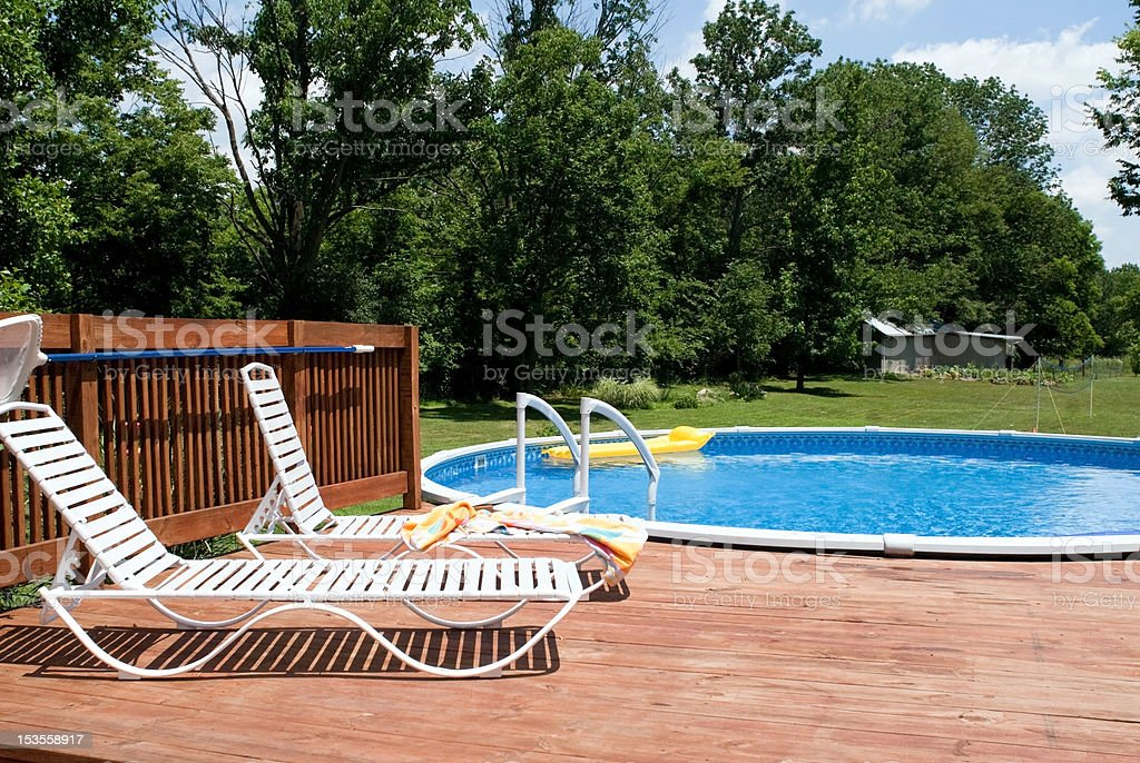 Country Pool and Deck stock photo