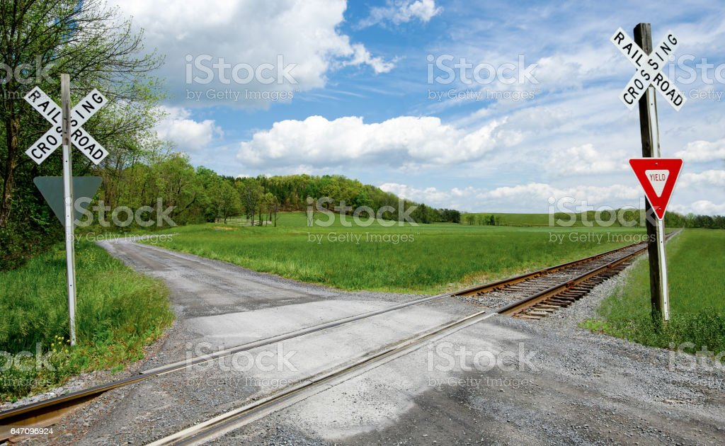 Country Railroad Crossing stock photo