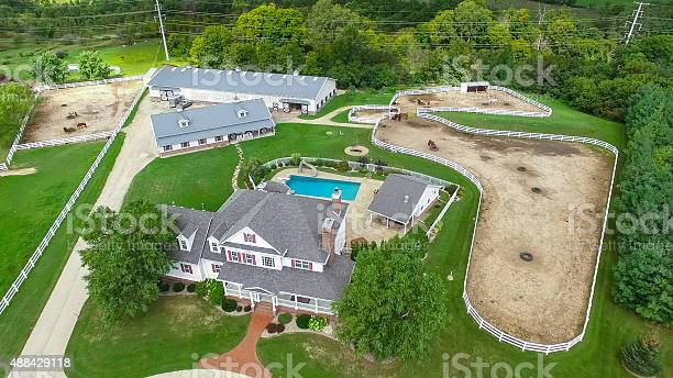 Photo of Country ranch, mansion with horse barns,pens,pool, aerial view