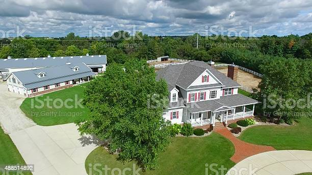 Photo of Country ranch, mansion with horse barns,pens,pool, aerial view.