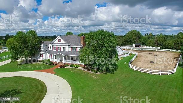 Photo of Country ranch, mansion with horse pens, circular driveway