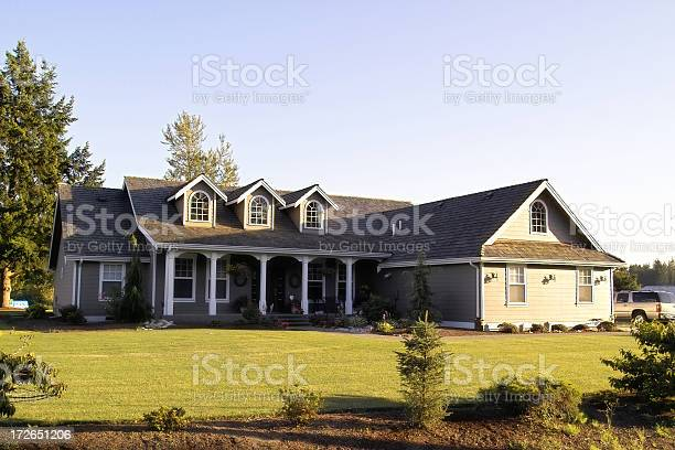 Country Ranch Style Home Stock Photo - Download Image Now