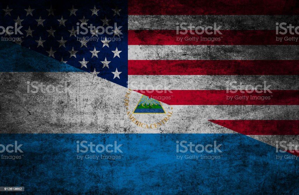 Relaciones del país. Banderas sobre fondo con textura - foto de stock