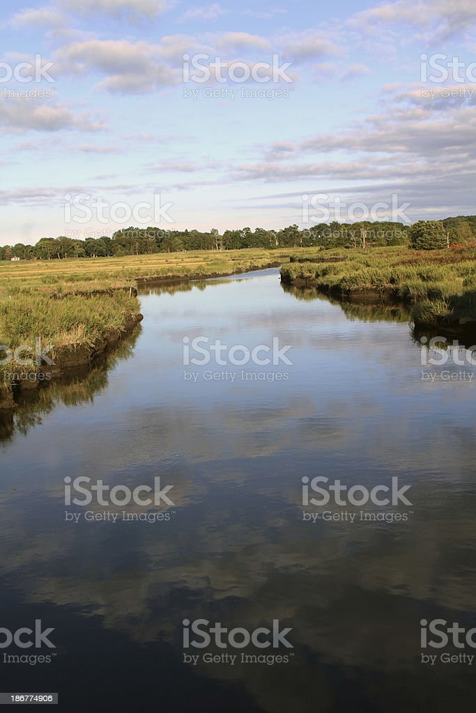 country river sky reflection stock photo