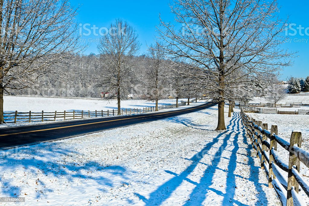 Country Road and Fence on a Winter Morning stock photo