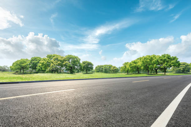 Country road and green forest natural landscape stock photo