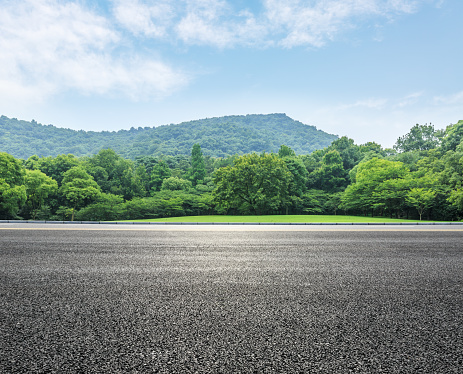country road and mountains with forest in summer