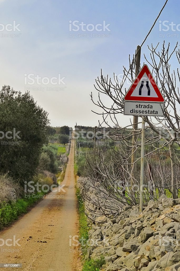 Country road and signal road. royalty-free stock photo